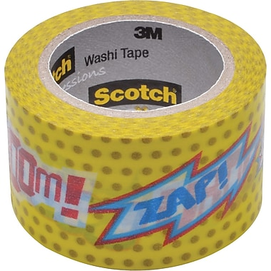 Scotch® Expressions Washi Tape, POW! Pattern, 1 3/16