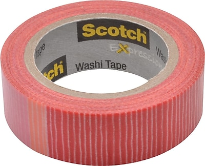Scotch® Expressions Washi Tape, Pink/Red Stripe, 3/5