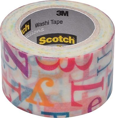 Scotch® Expressions Washi Tape, Alphabet Soup Pattern, 1 3/16