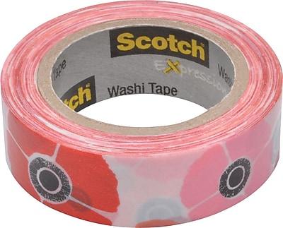 Scotch® Expressions Washi Tape, Poppy, 3/5