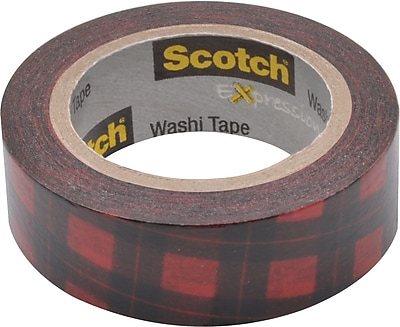Scotch® Expressions Washi Tape, Red Buffalo Plaid, 3/5