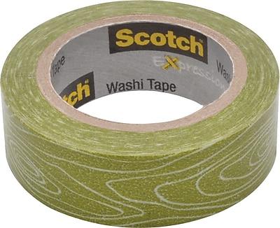 Scotch® Expressions Washi Tape, Woodgrain, 3/5