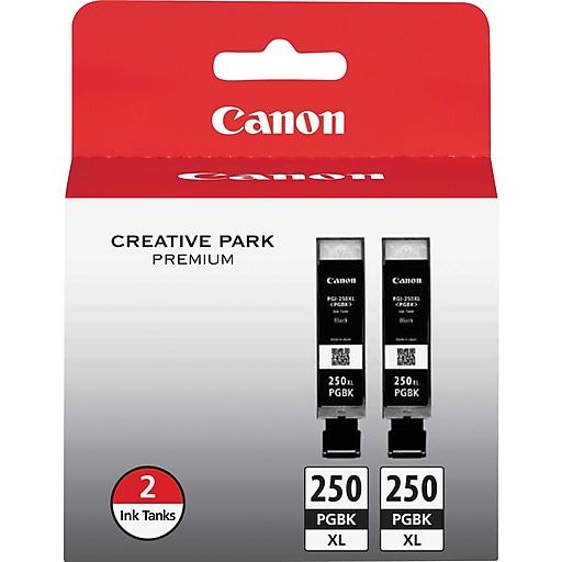 Canon PGI 250XL Twin Black Ink Cartridge, High Yield, 2/Pack (6432B004)