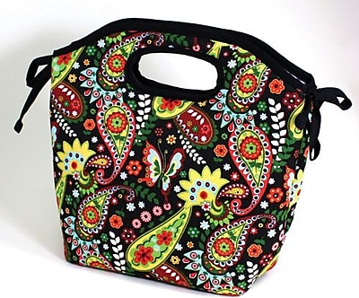 Fit & Fresh Newport Insulated Designer Lunch Bag with Ice Pack, Bright Paisley