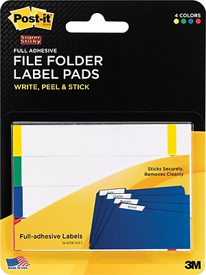 Post-it® Super Sticky File Folder Label Pads, 2/3 in x 3 1/2 in, White with Side Color Bars, 4 Pads/Pack