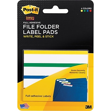 Post-it® Super Sticky File Folder Label Pads, 2/3 in x 3 1/2 in, White with Top Color Bars, 4 Pads/Pack