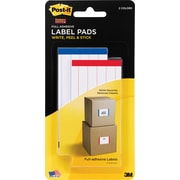 "Post-it® Super Sticky Label Pads, 2"" x 4"", White with Side Color Bars, 2 Pads/Pack"