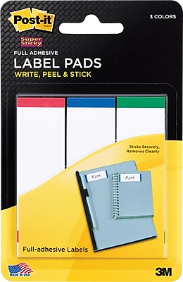 Post-it® Super Sticky Label Pads, 1 in x 3 in, White with Red, Blue and Green Side Color Bars, 3 Pads/Pack