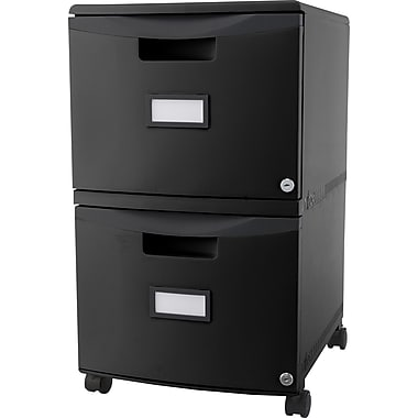 Storex® Locking File Double Drawer, Black (61309B01C)