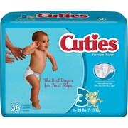 Cuties™ Premium Baby Diapers, Size 3, 144/Case