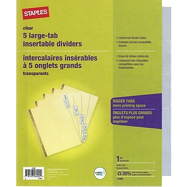 Staples Large-Tab Insertable Dividers, 5 Clear Tabs