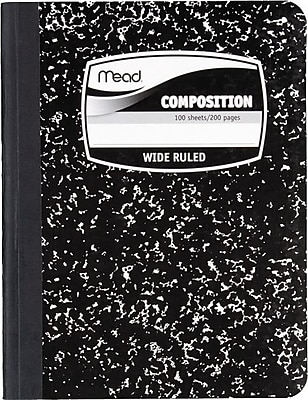 Mead Five Star Square Deal 1-Subject Black Marble Composition Book, Wide Ruled, 9-3/4