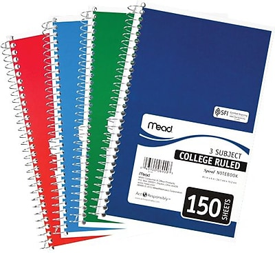 Mead® Spiral® Notebook, 3 Subject, College Ruled, Assorted Colors (06900)