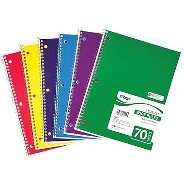 Mead® Spiral® Notebook, 1 Subject, Wide Ruled, Assorted Colors (05510)