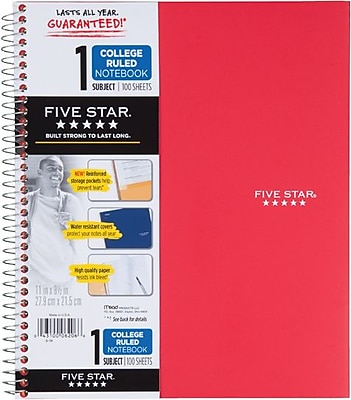 Five Star® Wirebound Notebook, 1 Subject, College Ruled, 11