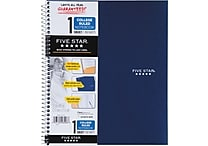 Five Star® Wirebound Notebook, 1 Subject, College Ruled, 11' x 8-1/2', Navy (72059)