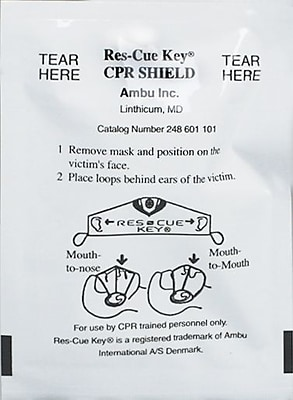 First Aid Only™ Ambu Res-cue Key, CPR Face Shield, One-Way Valve