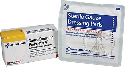 First Aid Only™ Dressing Pad, Gauze, 4