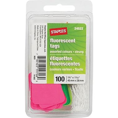 Staples® – Étiquettes pour vente au détail, avec ficelle, 1 3/4 po x 1 3/32 po, fluorescentes, paq./100
