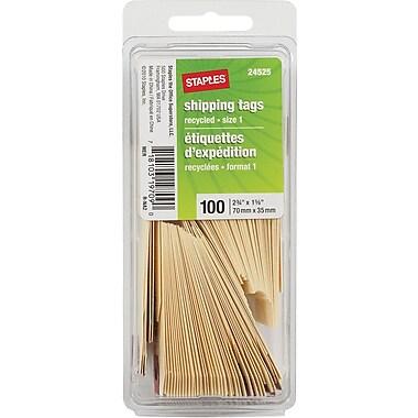 Staples® – Étiquettes d'expédition, 423/4 po x 1 3/8 po, manille, paq./100
