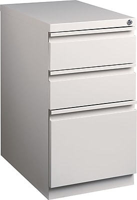 Staples 3-Drawer Mobile Pedestal File Cabinet, Putty (23-Inch)