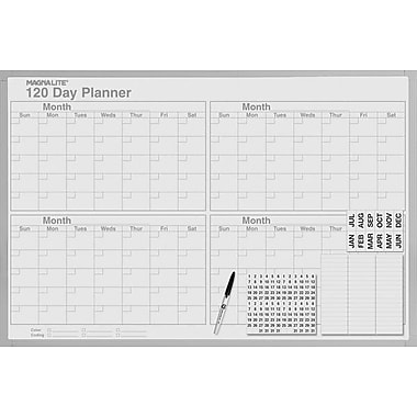 Magna Visual Magnetic 120 Day Planning Board, Gray Aluminum Frame, 48