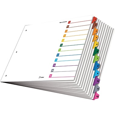 Cardinal® OneStep® Table of Contents & Dividers, 1-12, Multicolour Tabs, 12-Tab Set