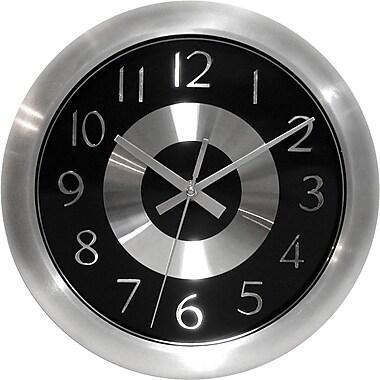 Infinity Instruments Mercury Black Shiny Aluminum, Wall Clock w/ Silver Metal Hands