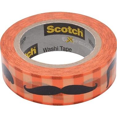Scotch® Expressions Washi Tape, Moustache Pattern, 3/5