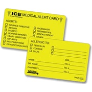 "Tabbies  ICE Emergency Information Cards, 25 Cards/Pk, Fluorescent Yellow, 2 1/8""H X 3 3/8""W Folded, 4 Pks/Bx (TAB54651)"