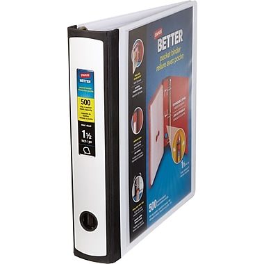 1.5'' Staples Better® Pocket Binder with D-Ring, White
