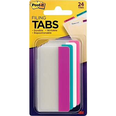 Post-it® Durable Filing Angled Tabs, Assorted Colour, 24/Pack