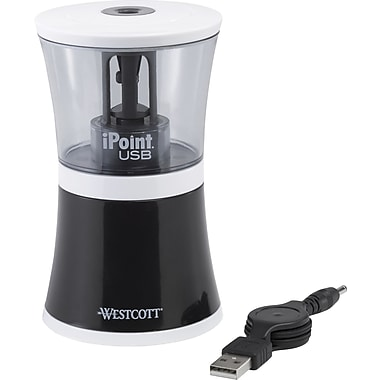Westcott iPoint USB Pencil Sharpener, Black
