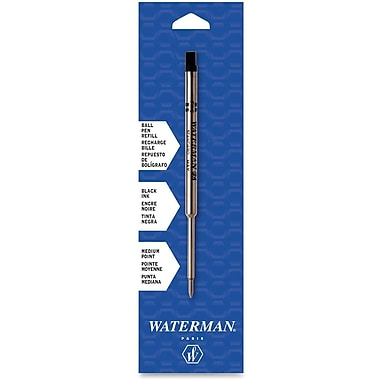 Waterman Ballpoint Pen Refill, Medium Point, Black