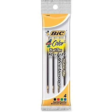 BicMD – Recharges pour stylo à bille à pointe rétractable, pointe moyenne, 1 mm, assortis, 4/paquet