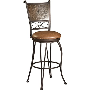 Powell Pvc Bronze With Muted Copper Stamped Back Bar Stool Brown