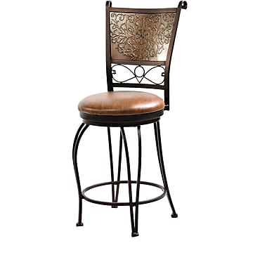 Powell® PVC/Bronze With Muted Copper Stamped Back Counter Stool, Brown