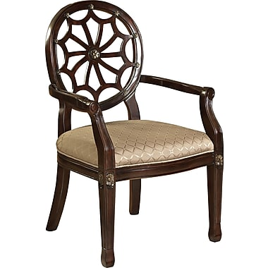 Powell Furniture Fabric Spider Web Back Accent Chair, Brown (235-620)