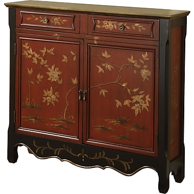 Powell® Console With 2 Doors, Red Oriental