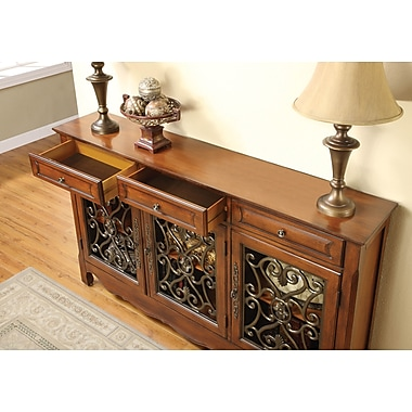 Powell® Scroll Console With 3 Doors, Walnut
