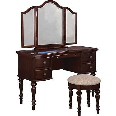 Powell® Vanity/Mirror and Bench, Marquis Cherry