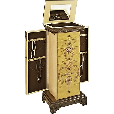 Powell® MDF Masterpiece Hand Painted Jewelry Armoire, Antique Parchment