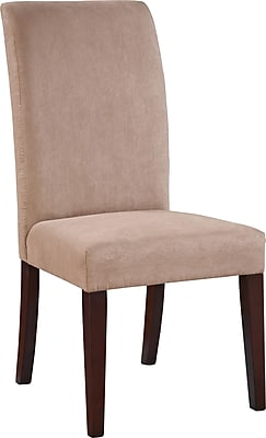 Powell® Microfiber/Wood Slip Over Parsons Chair, Dark Beige