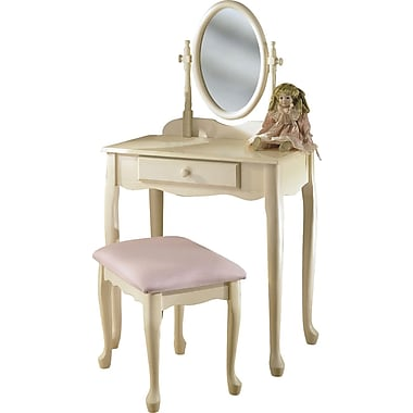 Powell® Vanity/Mirror and Bench, Off-White
