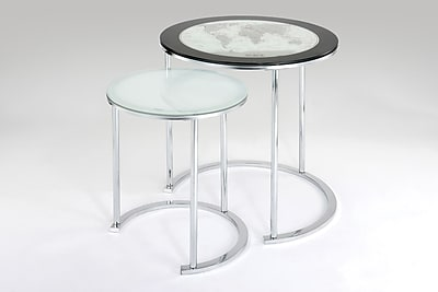 Powell 2 Piece Round Metal/Glass Nested Table 67041