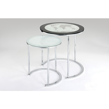 Powell® 2 Piece Round Metal/Glass Nested Table