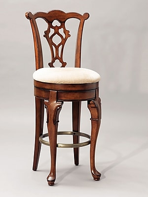 Powell Jamestown Landing Solid Birch Swivel Armless Bar Stool, Deep Cherry 66991