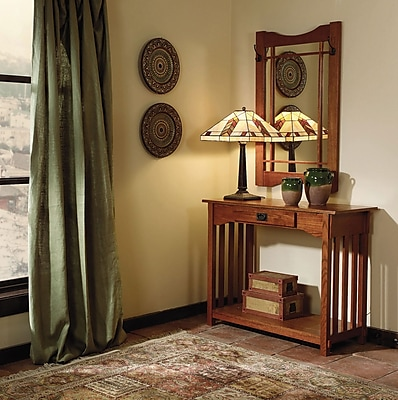 Powell® Console and Mirror Set, Mission Oak