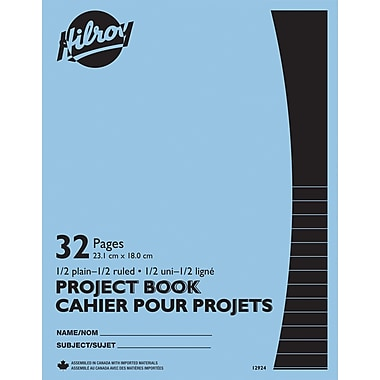 Hilroy Project Exercise Book, 1/2 Plain, 1/2 8mm Ruled, 32 Pages