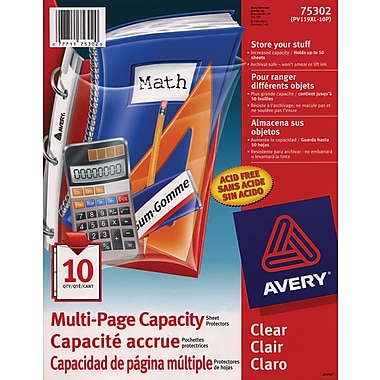 Avery® 75302 Student Multi-Page Capacity Sheet Protector, Clear, 10/Pack
